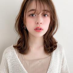 ミディアムレイヤー 鎖骨ミディアム デジタルパーマ モテ髪 ヘアスタイルや髪型の写真・画像