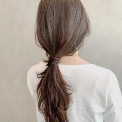 グレージュ ロング ヘアアレンジ ナチュラル ヘアスタイルや髪型の写真・画像
