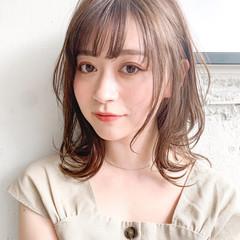 ミディアム 鎖骨ミディアム デジタルパーマ ナチュラル ヘアスタイルや髪型の写真・画像