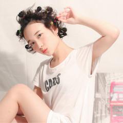 ストリート 黒髪 簡単ヘアアレンジ ヘアアレンジ ヘアスタイルや髪型の写真・画像