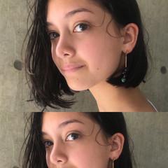 パーマ 簡単ヘアアレンジ ガーリー 黒髪 ヘアスタイルや髪型の写真・画像