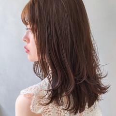 デジタルパーマ インナーカラー セミロング 大人ミディアム ヘアスタイルや髪型の写真・画像