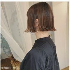愛され 外ハネボブ ボブ ハイライト ヘアスタイルや髪型の写真・画像