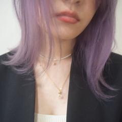 パープルカラー ハイトーンカラー ボブ フェミニン ヘアスタイルや髪型の写真・画像