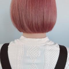 ミニボブ ボブ ピンクアッシュ ナチュラル ヘアスタイルや髪型の写真・画像