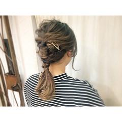外国人風 簡単ヘアアレンジ セミロング 編み込み ヘアスタイルや髪型の写真・画像