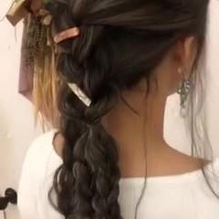 ヘアアレンジ ロング ナチュラル ハイライト ヘアスタイルや髪型の写真・画像