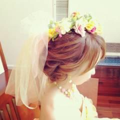 ヘアアレンジ アップスタイル 花 ブライダル ヘアスタイルや髪型の写真・画像