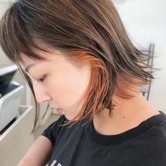 ブリーチ オレンジ ショート カーキ ヘアスタイルや髪型の写真・画像