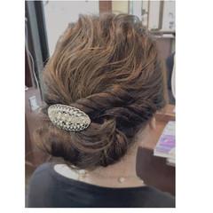 ヘアアレンジ ゆるふわ 波ウェーブ ミディアム ヘアスタイルや髪型の写真・画像