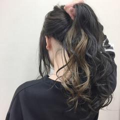 アッシュ ロング 黒髪 秋 ヘアスタイルや髪型の写真・画像