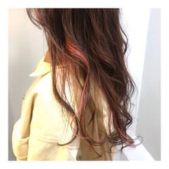 3Dハイライト ピンク フェミニン 大人ハイライト ヘアスタイルや髪型の写真・画像