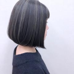 暗髪 ハイライト ボブ オフィス ヘアスタイルや髪型の写真・画像
