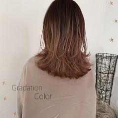 ウルフカット グラデーションカラー セミロング バイヤレージュ ヘアスタイルや髪型の写真・画像