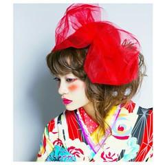 ロング 着物 外国人風 編み込み ヘアスタイルや髪型の写真・画像