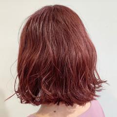 ピンク ピンクブラウン 切りっぱなしボブ ボブ ヘアスタイルや髪型の写真・画像