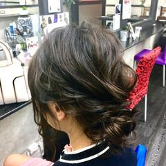 卒業式 結婚式 アップスタイル セミロング ヘアスタイルや髪型の写真・画像