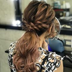 ローポニーテール 結婚式 エレガント ヘアセット ヘアスタイルや髪型の写真・画像