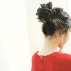 簡単ヘアアレンジ お団子 ショート ナチュラル ヘアスタイルや髪型の写真・画像