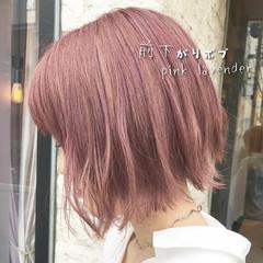 ミニボブ ラベンダーピンク ボブ ショートボブ ヘアスタイルや髪型の写真・画像