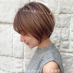 グレージュ 丸みショート ショートヘア コンパクトショート ヘアスタイルや髪型の写真・画像