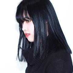 ネイビー 暗髪 モード 黒髪 ヘアスタイルや髪型の写真・画像