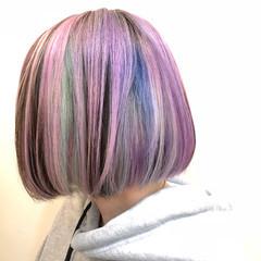 バレイヤージュ ハイライト グラデーションカラー ボブ ヘアスタイルや髪型の写真・画像