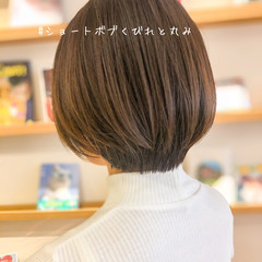 抜け感 ナチュラル ショートヘア ミニボブ ヘアスタイルや髪型の写真・画像