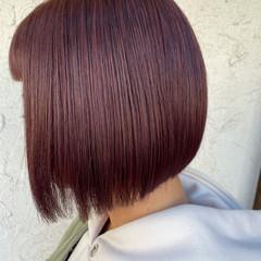 ミニボブ ピンクアッシュ ボブ ナチュラル ヘアスタイルや髪型の写真・画像