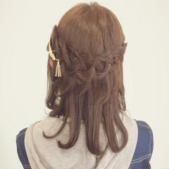 アッシュ ハーフアップ 暗髪 ミディアム ヘアスタイルや髪型の写真・画像