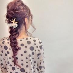 ロング 編み込み ゆるふわ ねじり ヘアスタイルや髪型の写真・画像