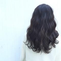 暗髪 ナチュラル セミロング アッシュ ヘアスタイルや髪型の写真・画像