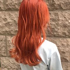 ガーリー 韓国風ヘアー オレンジベージュ ロング ヘアスタイルや髪型の写真・画像