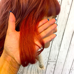 インナーカラー ミディアム 渋谷系 ガーリー ヘアスタイルや髪型の写真・画像