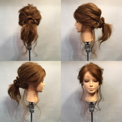 セミロング ローポニーテール ラフ ポニーテール ヘアスタイルや髪型の写真・画像
