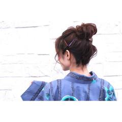 ルーズ 夏 花火大会 お団子 ヘアスタイルや髪型の写真・画像