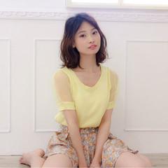 ミディアム 女子会 ガーリー ゆるふわ ヘアスタイルや髪型の写真・画像