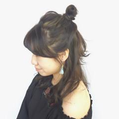 ハーフアップ ミディアム ヘアアレンジ ハイライト ヘアスタイルや髪型の写真・画像