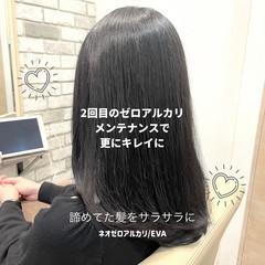 ストレート セミロング 前髪 ナチュラル ヘアスタイルや髪型の写真・画像