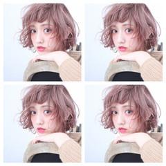 ゆるふわ ボブ ラベンダーピンク ベージュ ヘアスタイルや髪型の写真・画像