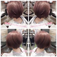 グレージュ ナチュラル フェミニン ピンク ヘアスタイルや髪型の写真・画像