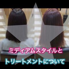 ナチュラル うる艶カラー ミディアム 髪質改善 ヘアスタイルや髪型の写真・画像