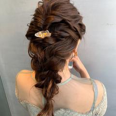 ナチュラル 編みおろしヘア ヘアアレンジ 結婚式ヘアアレンジ ヘアスタイルや髪型の写真・画像