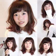 ガーリー ゆるふわ グラデーションカラー ミディアム ヘアスタイルや髪型の写真・画像