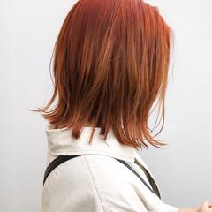 切りっぱなしボブ オレンジベージュ ボブ オレンジ ヘアスタイルや髪型の写真・画像