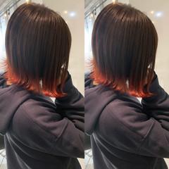ボブ オレンジカラー オレンジ フェミニン ヘアスタイルや髪型の写真・画像