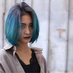 ミディアム ストリート ブルー ネイビー ヘアスタイルや髪型の写真・画像