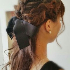 ヘアアレンジ 簡単ヘアアレンジ ハーフアップ 編み込み ヘアスタイルや髪型の写真・画像