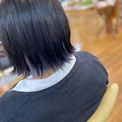 インナーカラー モード ボブ ラベンダー ヘアスタイルや髪型の写真・画像