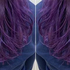 モード ビビッドカラー パープル グラデーションカラー ヘアスタイルや髪型の写真・画像